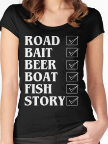 Road bait beer boat fish story Funny Geek Nerd Women's Fitted Scoop T-Shirt