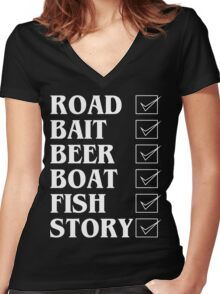 Road bait beer boat fish story Funny Geek Nerd Women's Fitted V-Neck T-Shirt