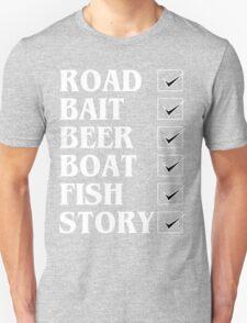 Road bait beer boat fish story Funny Geek Nerd T-Shirt