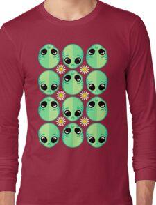 Sad Alien and Daisy Nineties Grunge Pattern Funny Geek Nerd Long Sleeve T-Shirt
