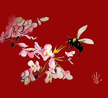 Cherry Blossom & Bee (Dee Vu edition) by theblackdavinci