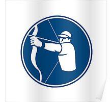 Archer Bow Arrow Circle Icon Poster