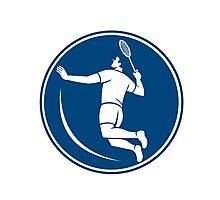 Badminton Player Jump Smash Circle Icon Photographic Print