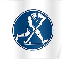 Field Hockey Player Running With Stick Icon Poster