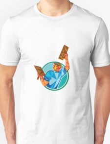 Plasterer Masonry Trowel Raise Low Polygon T-Shirt