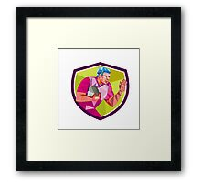 Rugby Player Fend Off Low Polygon Framed Print