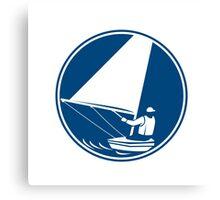 Sailing Yachting Circle Icon Canvas Print