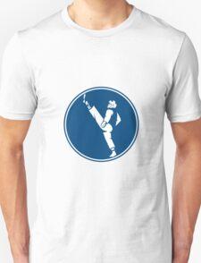 Taekwondo Fighter Kicking Stance Circle Icon T-Shirt