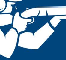 Trap Shooting Shotgun Circle Icon Sticker