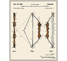 Archery Bow Patent - Colour Photographic Print
