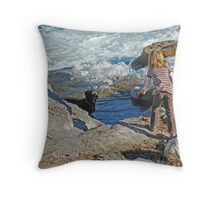 Rivers, Kids & Dogs Throw Pillow