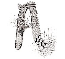 """Zentangle Inspired Letter """"A"""" Hand Drawn Photographic Print"""