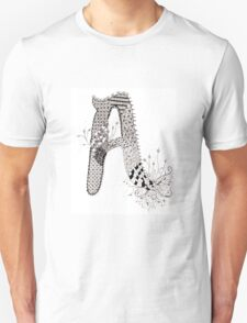 """Zentangle Inspired Letter """"A"""" Hand Drawn T-Shirt"""