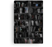 Black and White Book Shelves Canvas Print