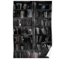 Black and White Book Shelves Poster