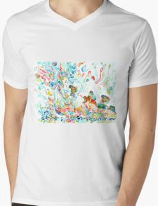 PSYCHEDELIC GODDESS WITH TOADS  Mens V-Neck T-Shirt