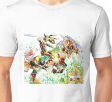 DEMON RIDING A HORSE REARING UP IN FRONT OF A TWO  Unisex T-Shirt