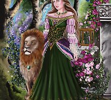 Queen of lions fairy fantasy,medieval lady  by Gabriella  Szabo