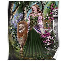 Queen of lions fairy fantasy,medieval lady  Poster