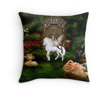 Unicorn White Beauty And Heart Angel Throw Pillow
