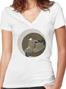 Cappuccino Vespa Women's Fitted V-Neck T-Shirt