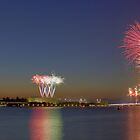 Australia Day Fireworks over Lake Burley Griffin by Anthony Caffery