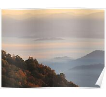 Sun-Kissed Mountain Mists Of October Dawn Poster