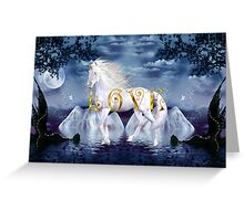 Unicorn White Beauty Magical Wonderland Gold Love Greeting Card