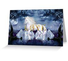 Unicorn White Beauty Magical Wonderland Gold Love Greeting Card