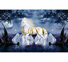 Unicorn White Beauty Magical Wonderland Gold Love Photographic Print