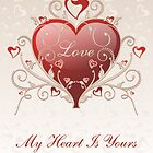 Valentine Love - Big Shiny Heart Gold Scroll Card by ruxique