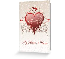 Valentine Love - Big Shiny Heart Gold Scroll Card Greeting Card