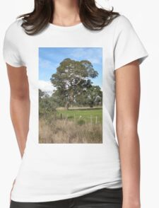 Gum tree near Penshurst with typical scrappy wire fence Womens Fitted T-Shirt