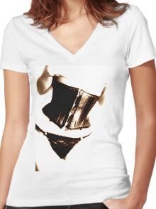 corset Women's Fitted V-Neck T-Shirt