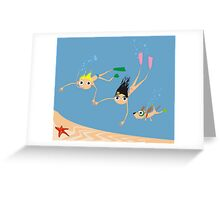 Diving with a dog Greeting Card