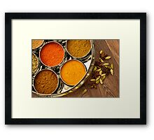 Colourful Orange Yellow Kitchen Chef Silver Indian Spices Pots Framed Print