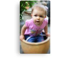Little Girl in a Flower Pot Canvas Print
