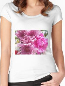Tender Pink Flower Photography Women's Fitted Scoop T-Shirt