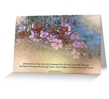 Serenity Prayer Blossoms Blue House Greeting Card