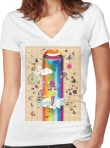 Surreal Fairy Women's Fitted V-Neck T-Shirt