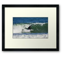 Winter Surfing at the Outer Banks in North Carolina. Framed Print