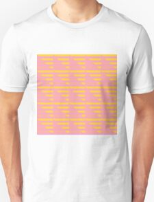 Pink Peach and Yellow Houndstooth Unisex T-Shirt