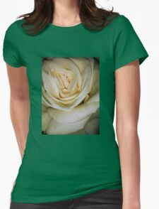 Macro of white rose 6 Womens Fitted T-Shirt