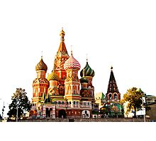 St Basil Cathedral, Moscow, isolated on white Photographic Print