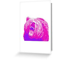 Pink Grizzly Bear Greeting Card