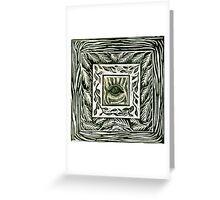 Linocut Inchie Border Hand Pulled Print With Inchie Zebra Eye Greeting Card