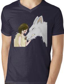 Mononoke And Wolf Mens V-Neck T-Shirt