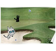 Cats Playing Golf Poster