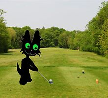 Cat Teeing Off by JohnsCatzz