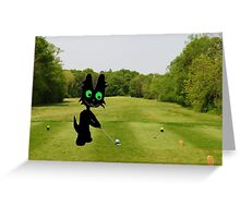 Cat Teeing Off Greeting Card